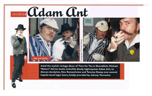 Interview and cover photo of adam ant by atters attree for the chap 2012