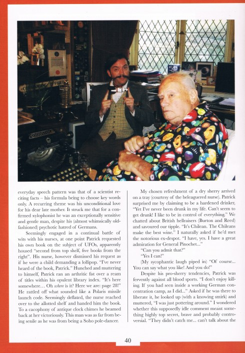 P2 Sir Patricks last ever interview for chap magazine and obituary by atters attree
