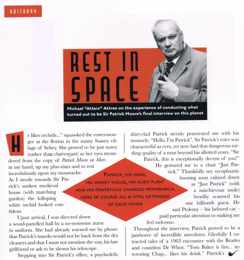 Sir Patric Moore last ever interview and obituary by atters attree chap magazine